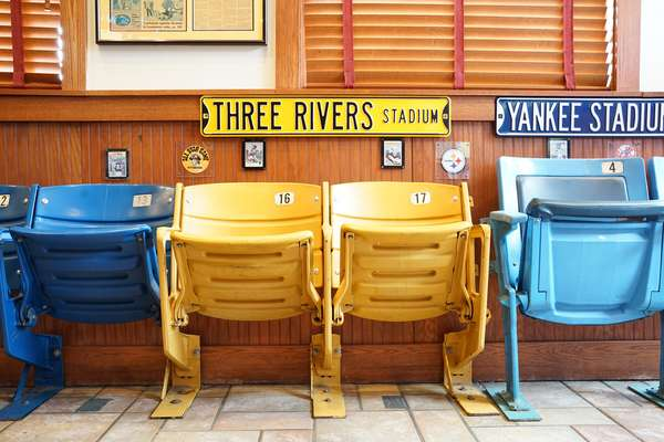 Seats from various sports stadiums