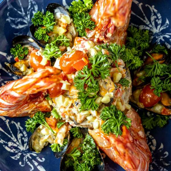 Tiger Prawns with Grits