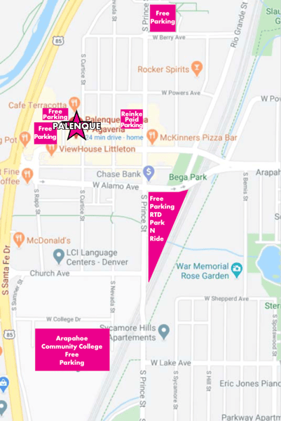 On-street parking is available with various time limits. Main Street parking is marked with a maximum 2 hour limit. See the map for additional free and paid parking.
