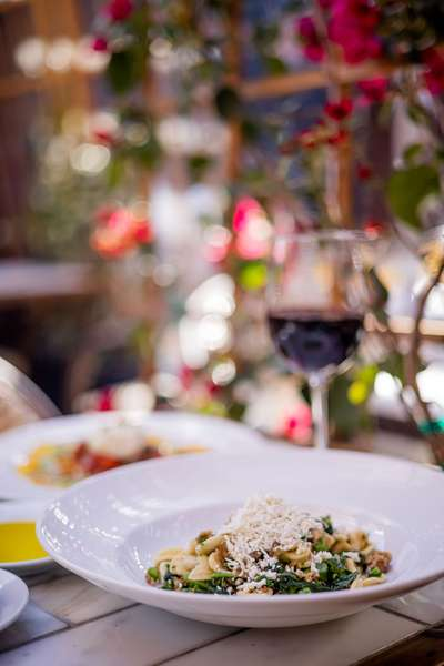 pasta dish with red wine
