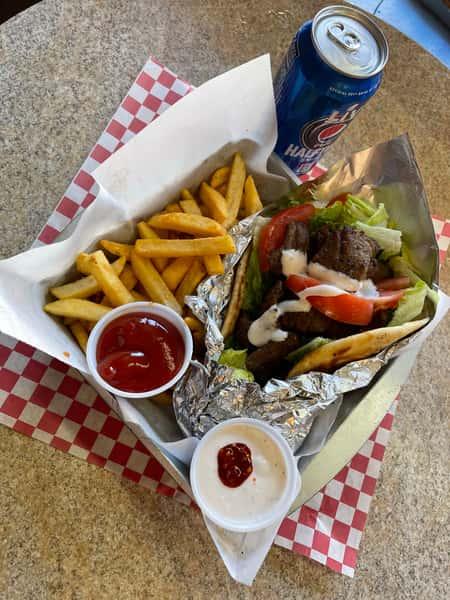 gyro, fries and pepsi