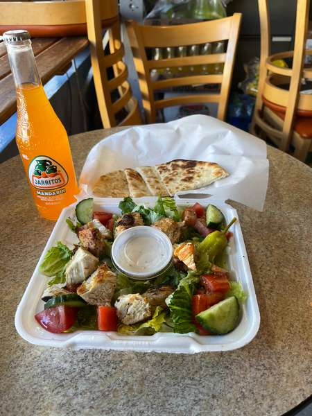 chicken greek salad and jarritos