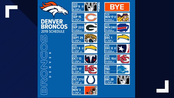 denver broncos 2019 schedule