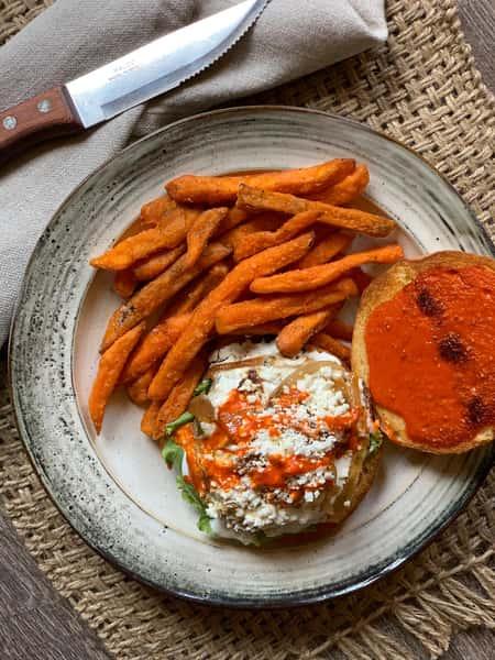 Lamb Burger WIth Sweet Potato Fries