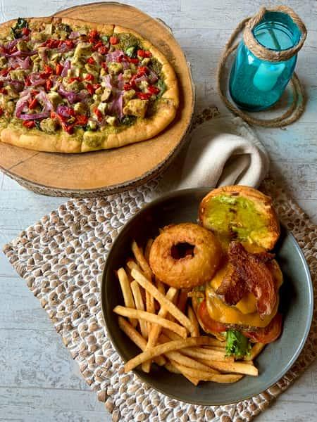 Pesto Chicken Flatbread &D's Burger W/Housemade Fries