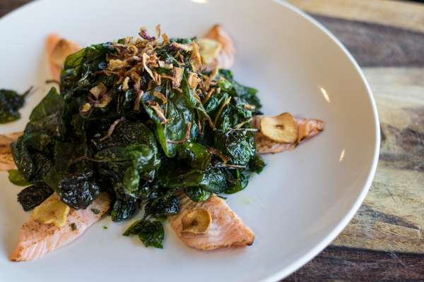Salmon with Crispy Spinach