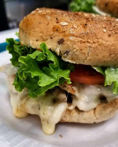 chicken sandwich with melted cheese