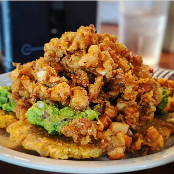 Vegan Fried Rinds with Fried Plantains