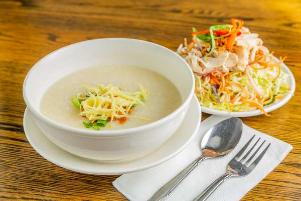 chicken porridge with salad