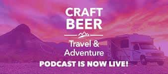 """Living a stout life logo """"craft beer travel and adventure"""" pink and purple mountains"""