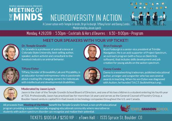 """""""Neurodiversity in Action."""" Photos of Dr. Temple Grandin Danny Combs, Tiffany Fixter and Bryn Fosburgh"""