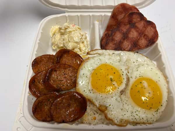 Portuguese Sausage, Spam & Eggs