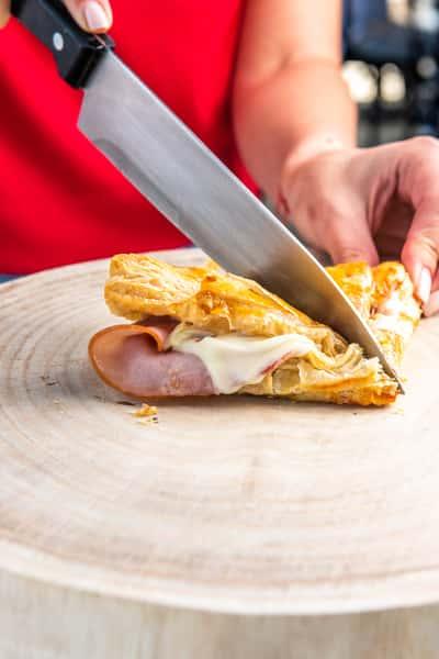 cutting sandwich
