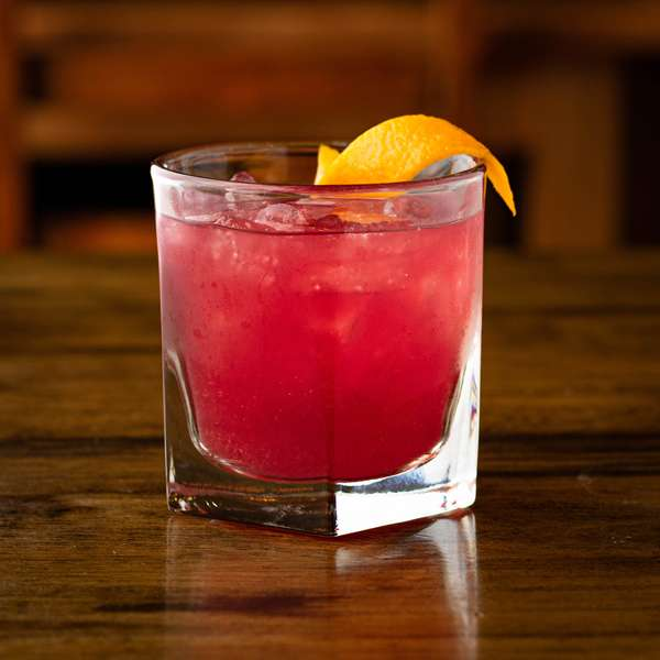 Rosemary Prickly Pear Bourbon Old Fashioned