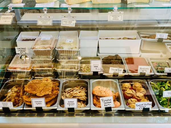 food on display behind the counter
