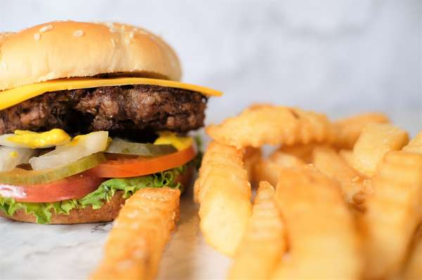 cheese burger with crinkle cut fries