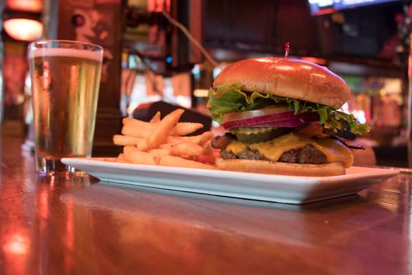 Burger and fries with a beer