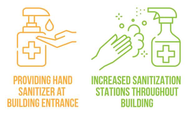 providing hand sanitizer at building entrance. increased sanitation stations throughout building.