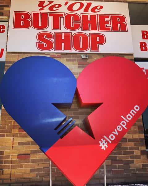 butcher shop heart sign