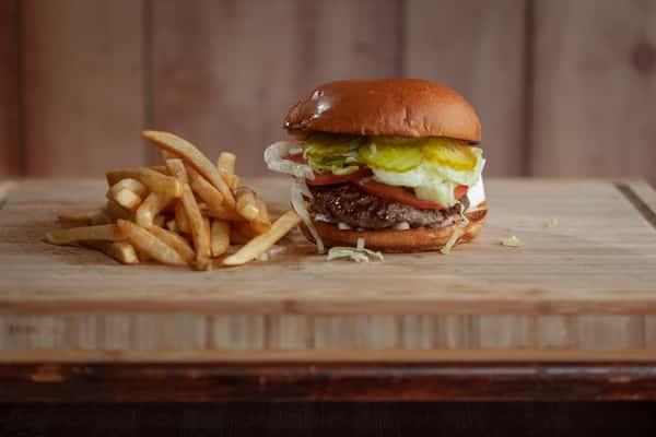 Buffalo Burger with fries