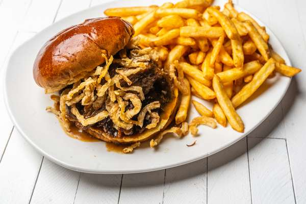 Barbeque sandwich and Fries