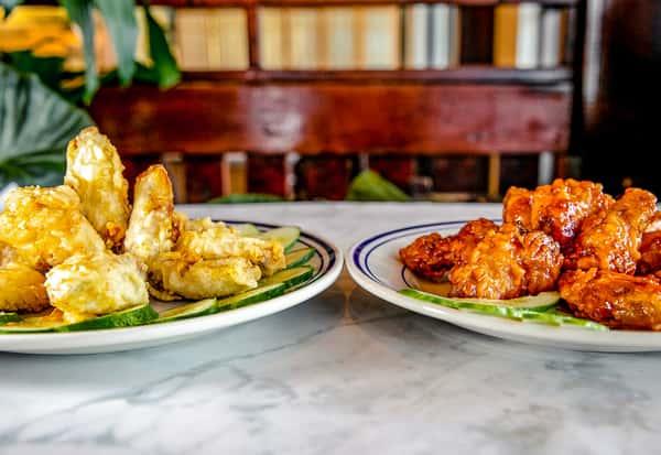 plates of chicken