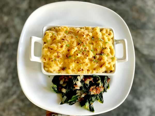 Mac 'n Cheese w/ Smoked Bacon Collard Greens