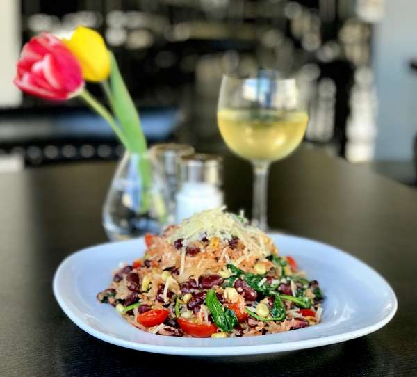 *Red Beans & Rice Vegetarian Style w/ Roasted Shallots, Tomatoes, Corn, Sauteed Spinach & Parmesan