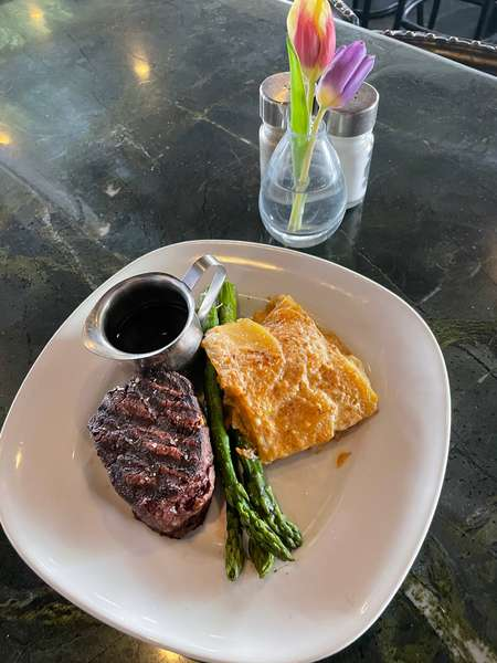 Cowboy Grilled Filet Mignon w/ Blue Cheese Potato Gratin, Asparagus, Homemade Worcestershire Sauce