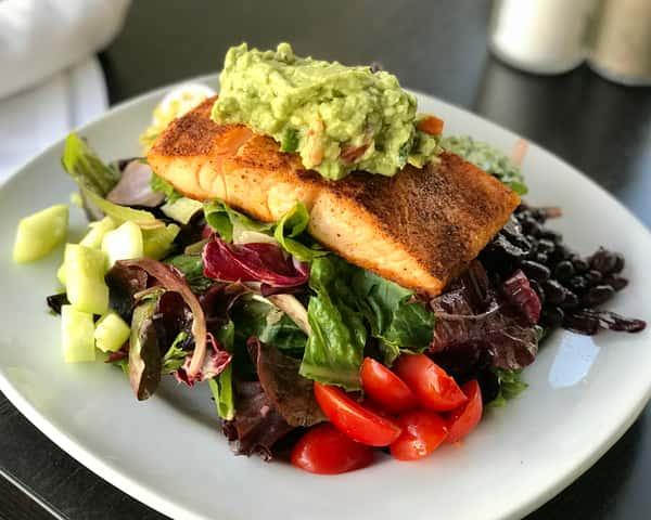 *Blackened Wild Salmon ChoppedSalad w/Black Beans,Corn, Cherry Tomatoes, Cucumber & Avocado Salsa