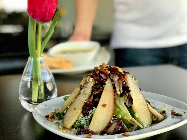Caramelized Red Pear, Candied Pecan& Goat Cheese Salad