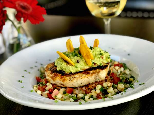 *Grilled Swordfish w/ Chili Style Black Bean Puree, Red Rice, Roasted Corn Salsa & Guacamole
