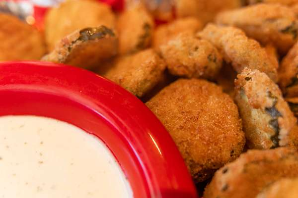 fried pickle chips and ranch