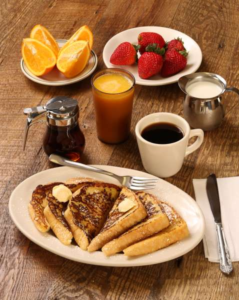 French Toast with Coffee, Orange Juice, and Fruit
