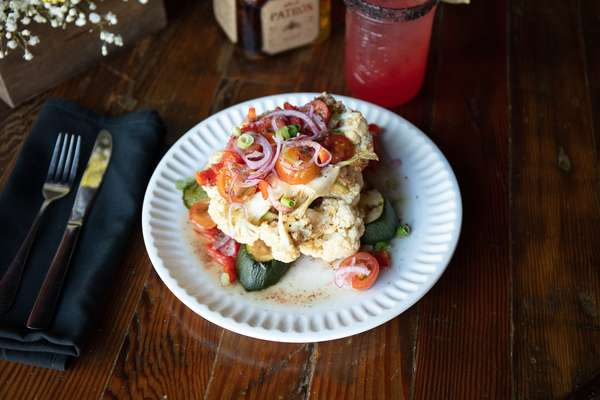 Smoked Zucchini & Grilled Cauliflower Steak