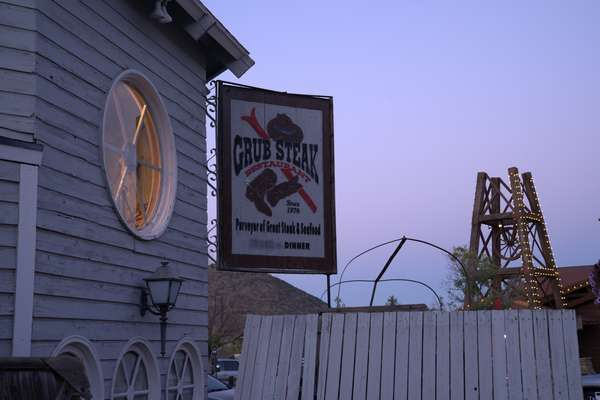 exterior of restaurant at dusk
