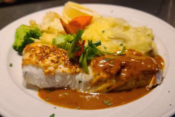 Fresh Alaskan Halibut with Coconut Curry Sauce