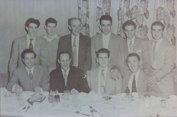 old photo of people at restaurant