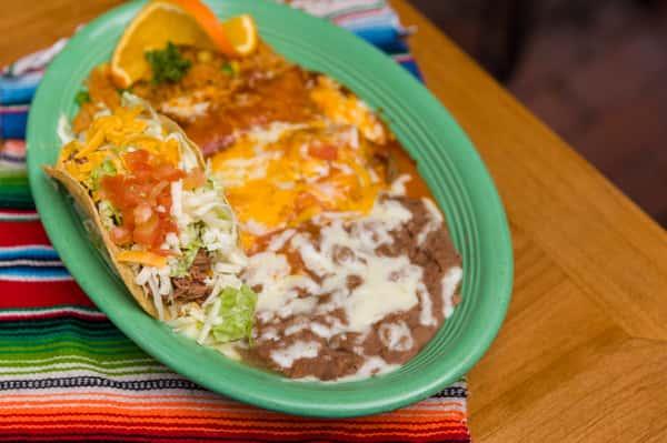 #13. Fresh Chile Relleno, Taco & Enchilada