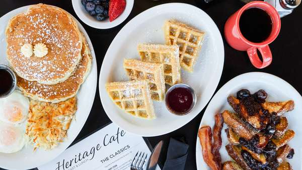waffles and breakfast plates