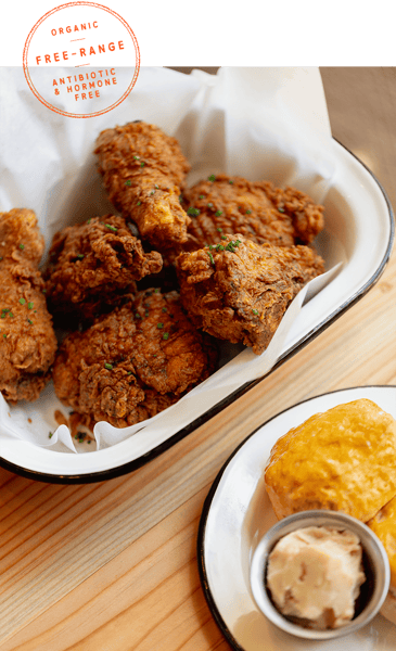 fried chicken organic free-range antibiotic & hormone free