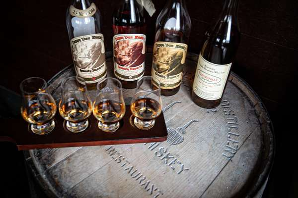 Pappy van Winkle bourbon whiskey flight