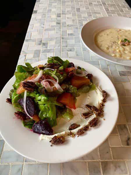 beet salad and corn chowder