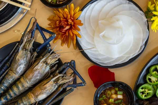 tiger shrimp and pickled radish