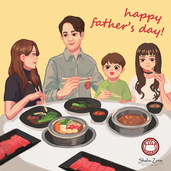 Drawn image of family eating hot pot together with dad