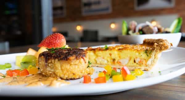 Shrimp Quiche, Crab Cake, Fruit Salad, and Side Salad