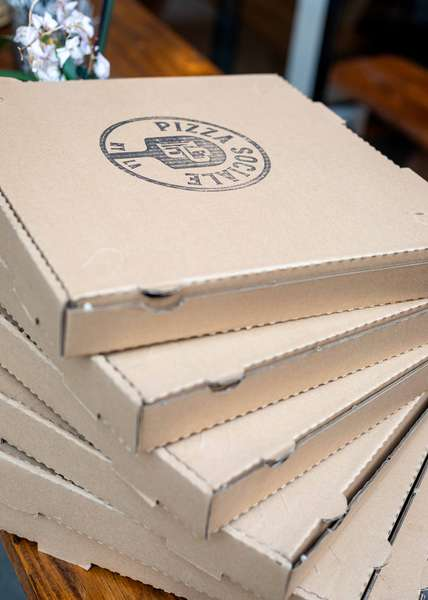 Pizza Sociale delivery boxes