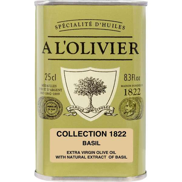 A L'OLIVIER EXTRA VIRGIN OLIVE OIL INFUSED WITH BASIL: GREEN TIN