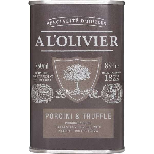 A L'OLIVIER EXTRA VIRGIN OLIVE OIL INFUSED WITH PORCINI-TRUFFLE: GREY TIN