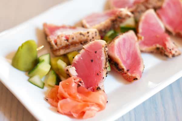 sliced rare tuna